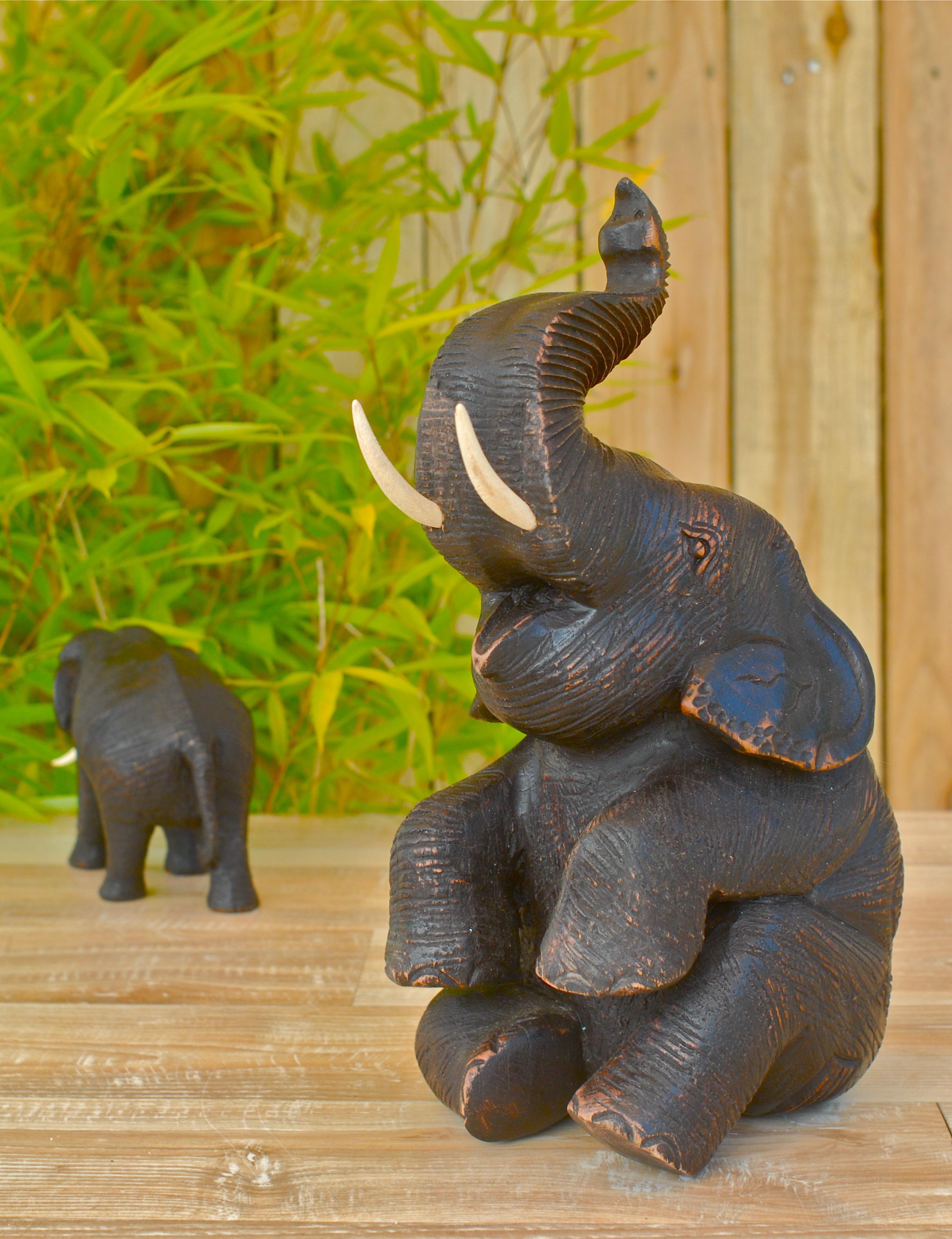 elefant aus holz figur teak buddha holzelefant h 28cm sitzend ebay. Black Bedroom Furniture Sets. Home Design Ideas