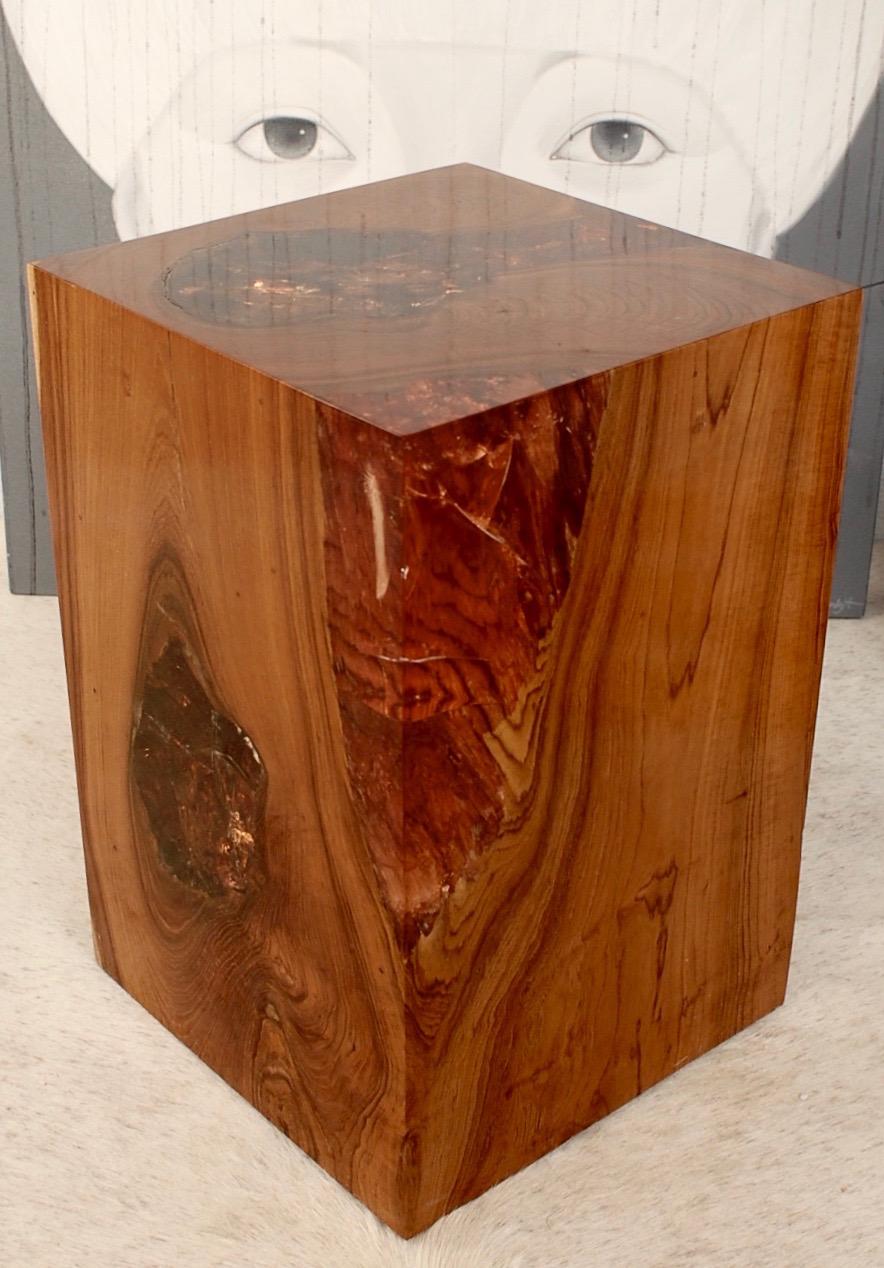 Details zu Hocker Holz Teak Wurzel m. Kunstharz Resin, Podest, Säule,  Beistelltisch, Quader