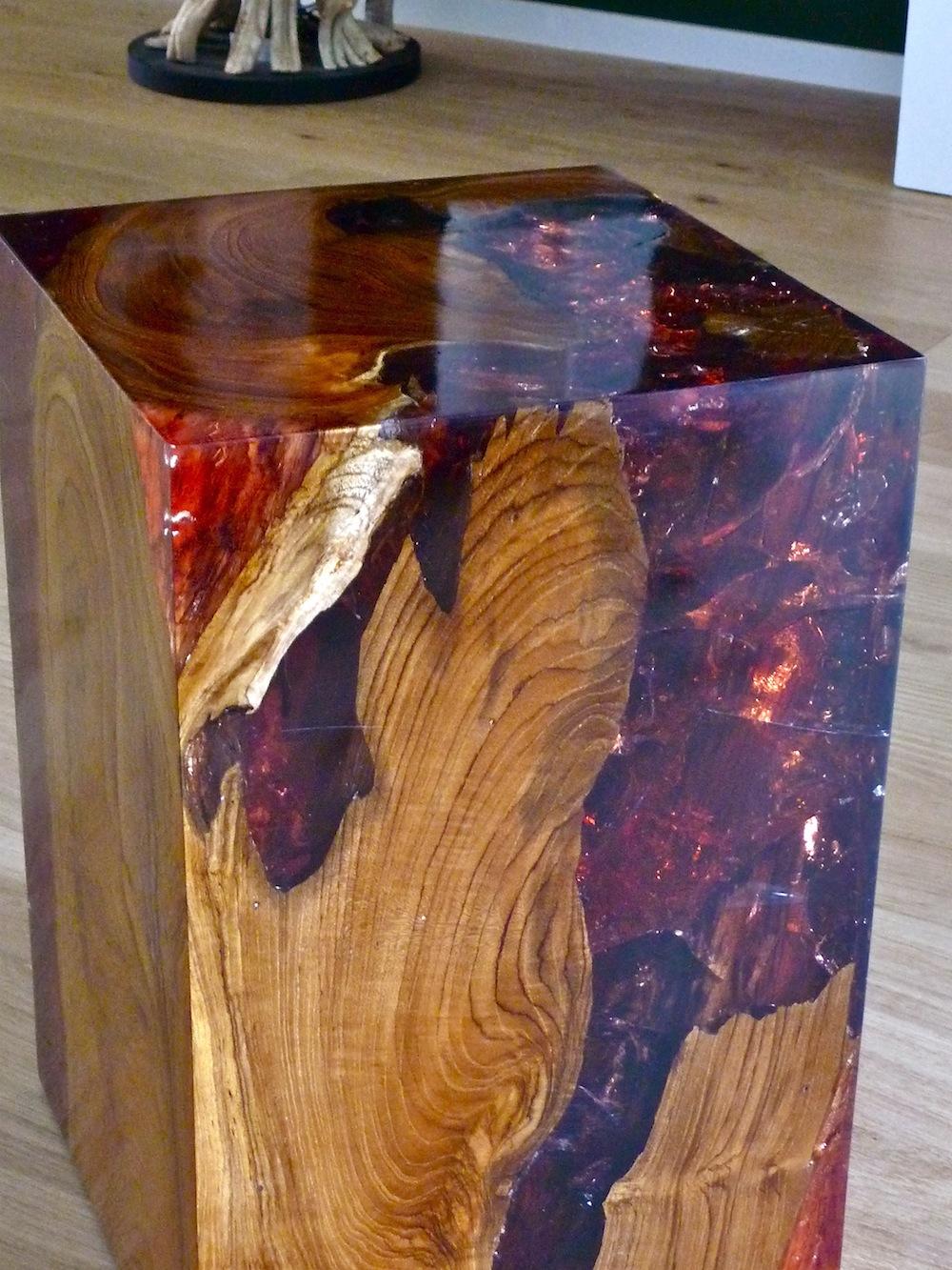 hocker holz teak wurzel m kunstharz resin podest s ule beistelltisch quader ebay. Black Bedroom Furniture Sets. Home Design Ideas