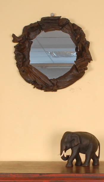 spiegel aus holz wandspiegel schwemmholz treibholz rund teak 43 cm durchm ebay. Black Bedroom Furniture Sets. Home Design Ideas