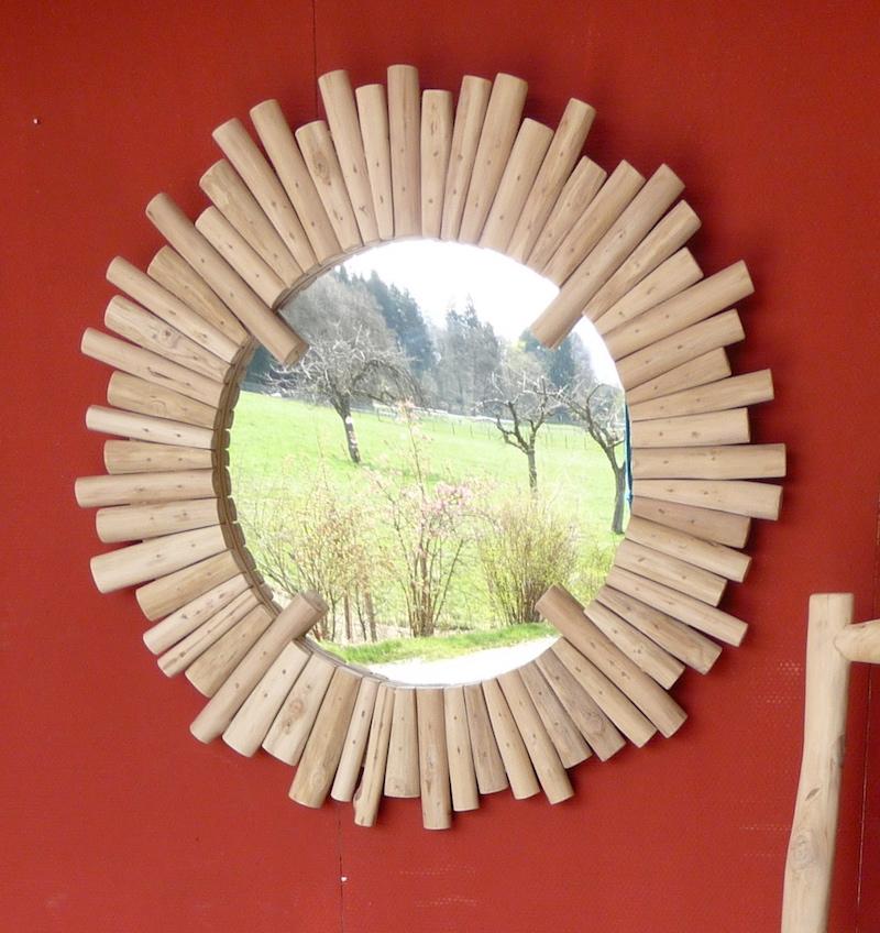 spiegel aus teak holz wandspiegel schwemmholz treibholz rund 80 cm durchm ebay. Black Bedroom Furniture Sets. Home Design Ideas